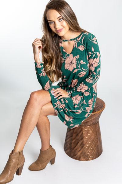 Keyhole Dress, Green Floral