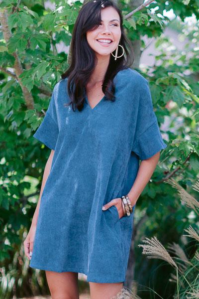 Cora Corduroy Dress, Blue