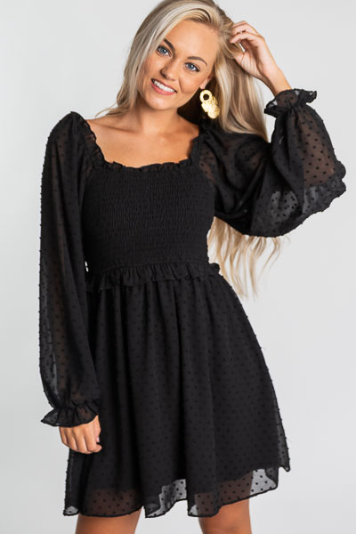 Swiss Dot Smock Dress, Black