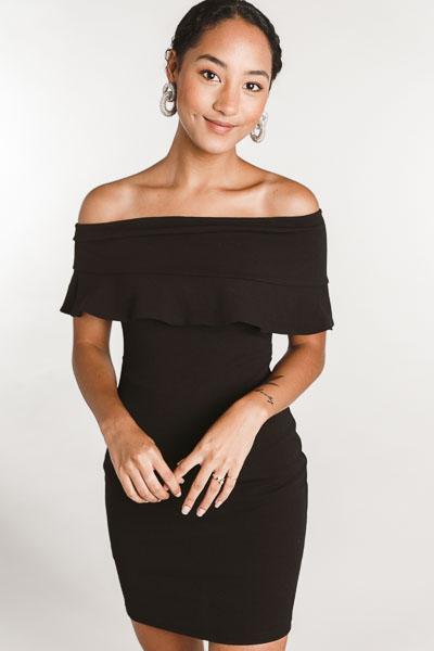 Elegant Off Shoulder Dress, Black