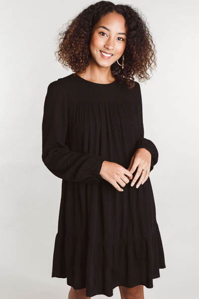 Woven Tiered Dress, Black