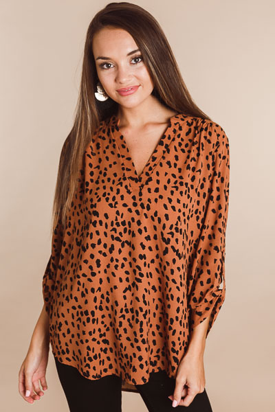 Toffee Leopard Blouse