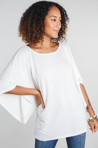 Kimono Sleeves Blouse, Ivory