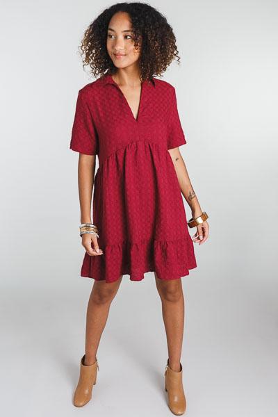 Collared Babydoll Dress, Burgundy
