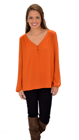Quilted Yoke Blouse, Pumpkin
