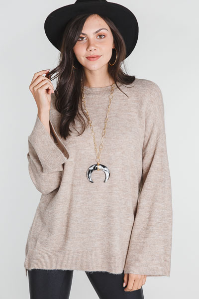 Brushed Bell Sleeve Sweater, Taupe