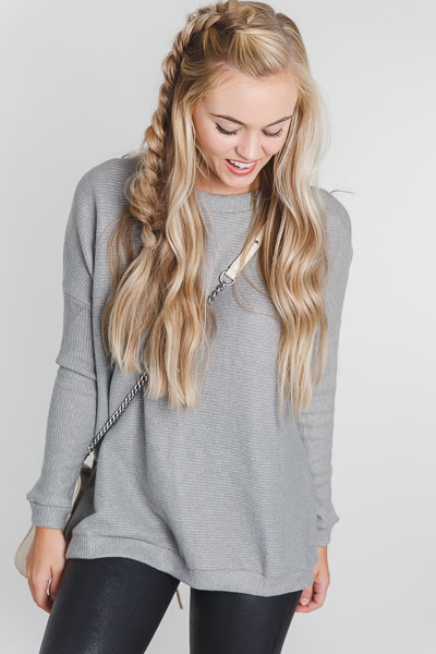 Roma Ribbed Pullover, Grey