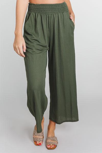 Olive Smocked Pants