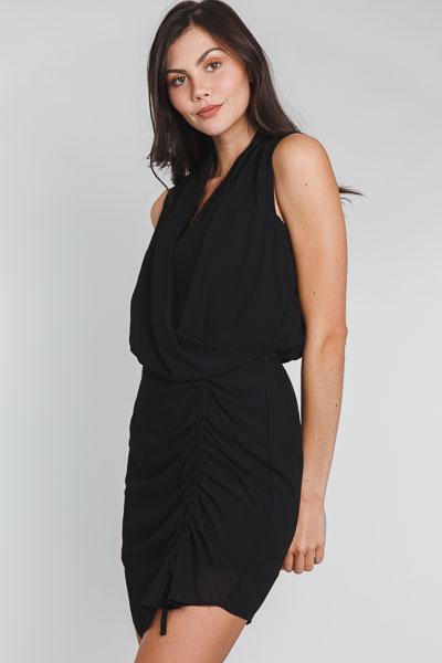 Gossip Girl Ruched Dress, Black