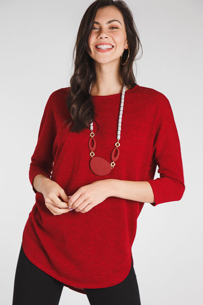 Basic Hacci Top, Burgundy