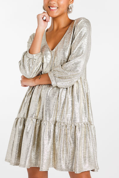 Melanie Metallic Dress, Gold