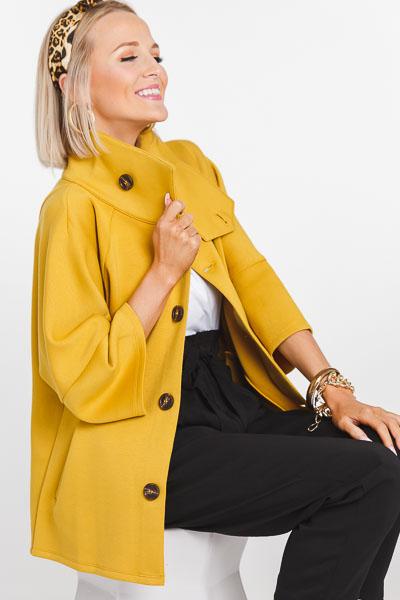 Mustard Scuba Button Jacket