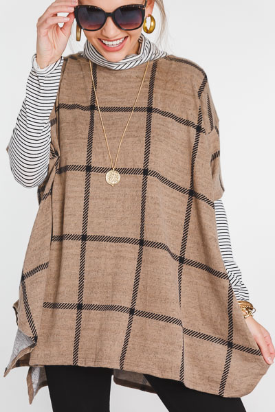 Checkered Box Sweater, Tan