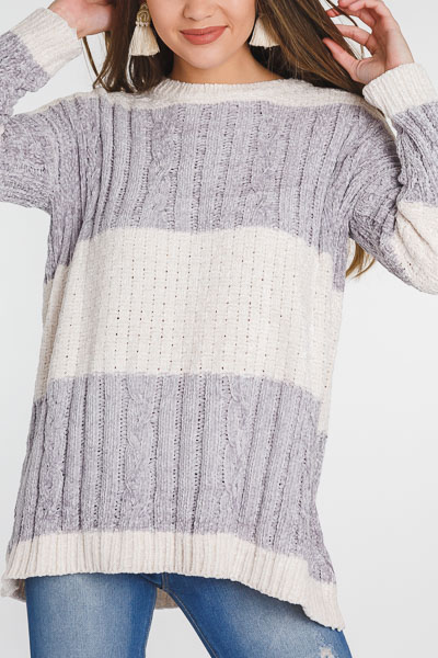 Chenille Ice Stripes Sweater