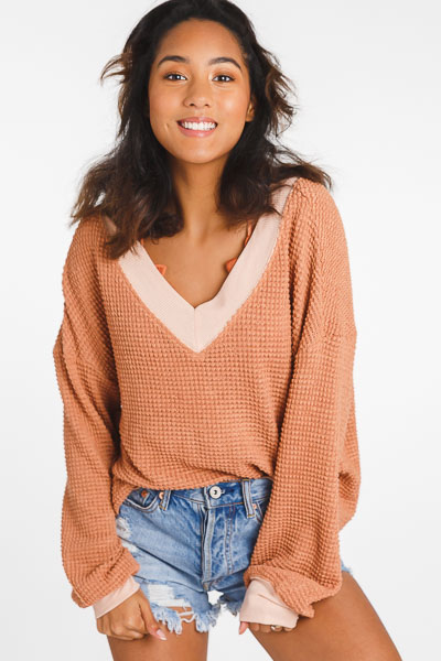 Banded Waffle Top, Clay