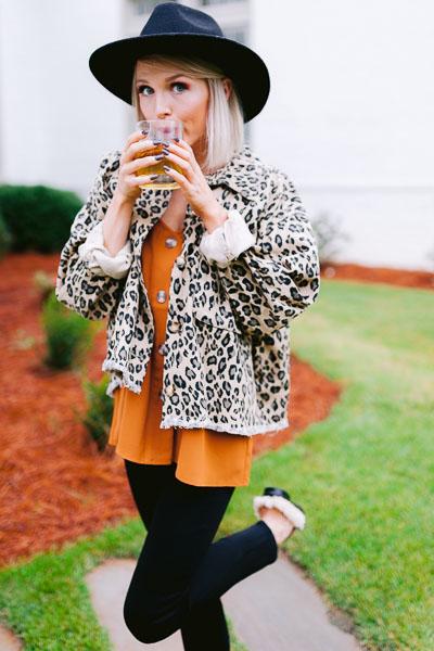 Leopard Jean Jacket, Tan