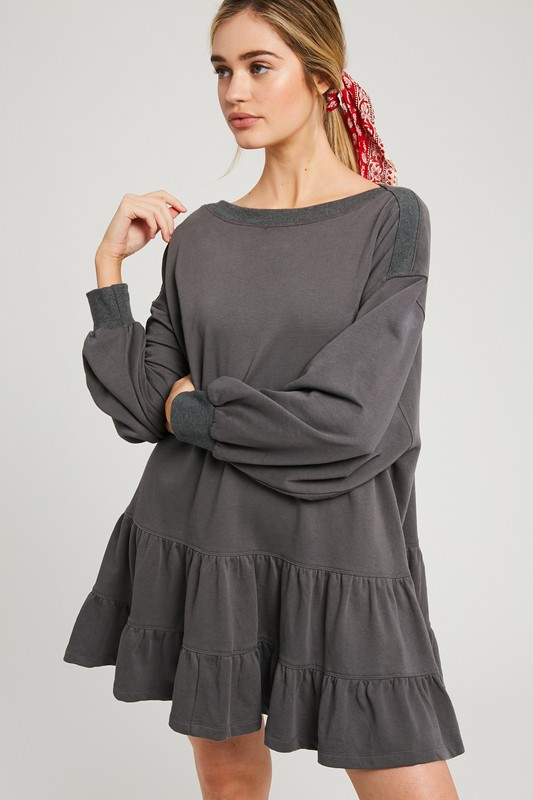 Tiered Sweatshirt Dress, Charcoal