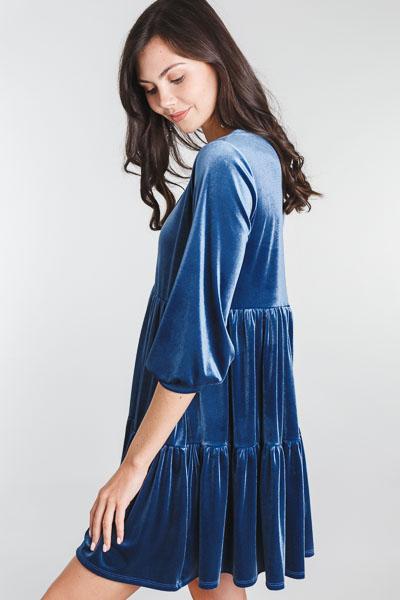 Vivian Velvet Dress, Blue