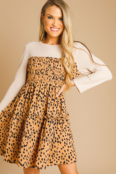 Layered Look Speckled Dress