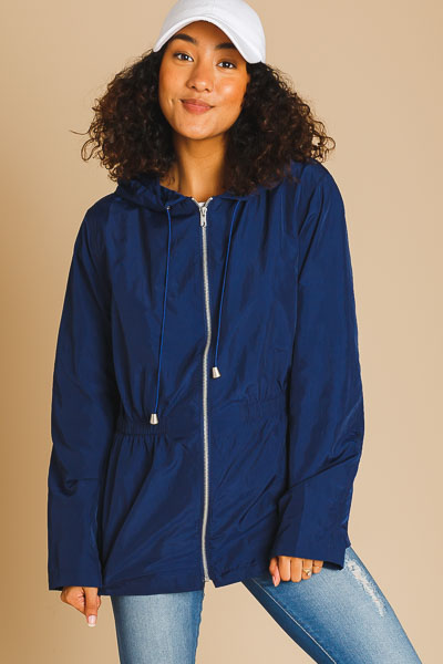 Cinched Waist Windbreaker, Navy