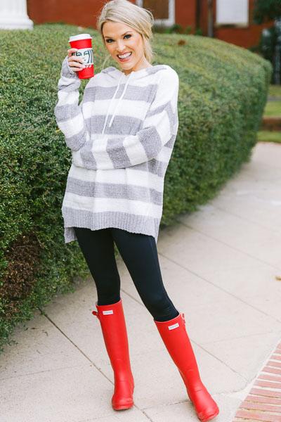 Plush Hoodie, Grey Stripe