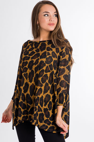 So Slouchy Cheetah Tunic, Mustard
