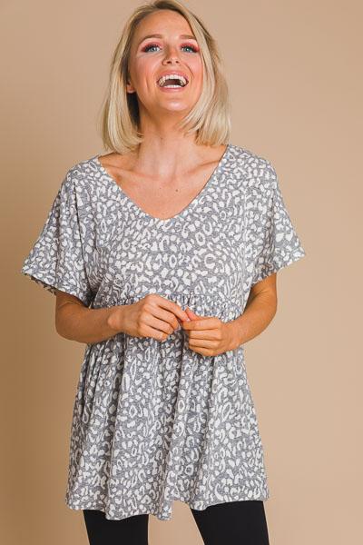 Leopard Babydoll Knit Top, Grey