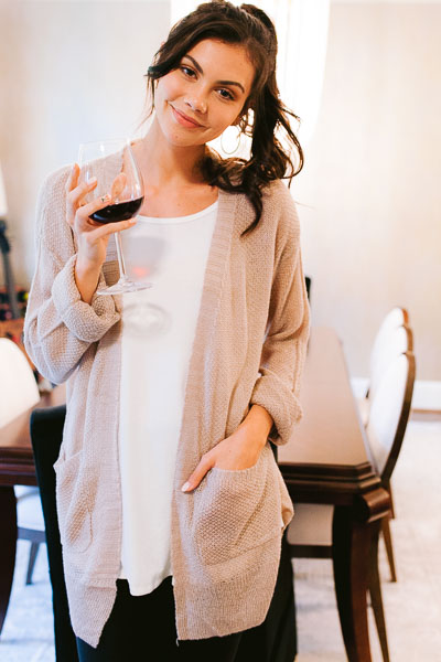 Airy Cardigan, Taupe