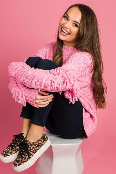 Cool Pink Fringe Sweater