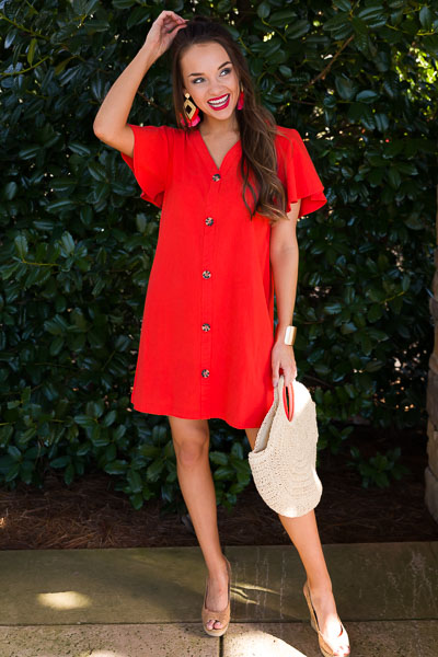 Eva Button Front Dress, Orange