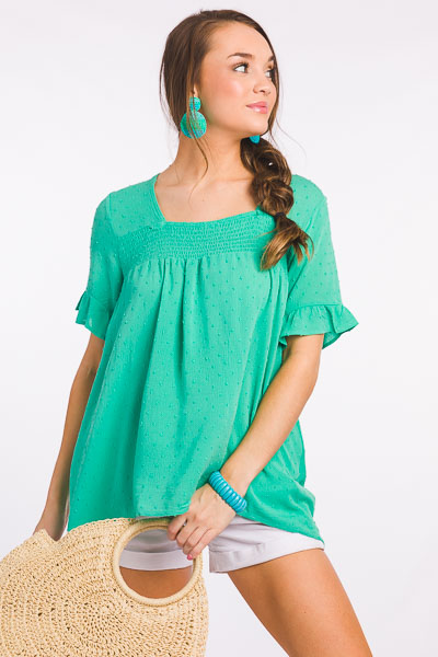 Swiss Dot Smock Top, Mint