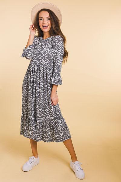 Grey Leopard Knit Maxi