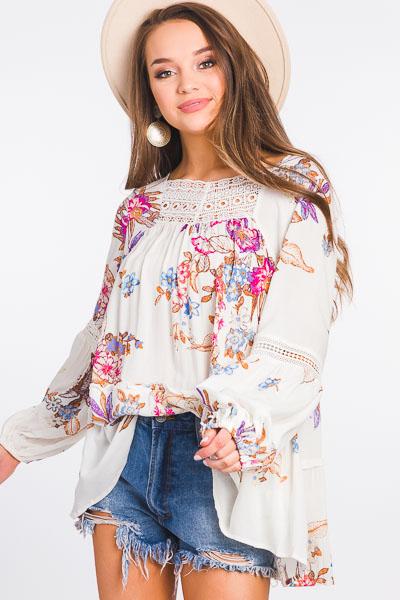 Baili Blooms Tunic, Off White
