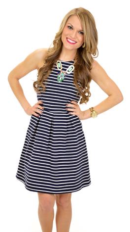 Sail or Stripe Dress, Navy