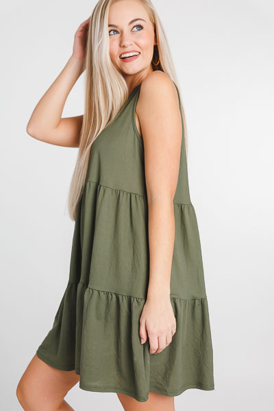 No More Tiers Dress, Olive
