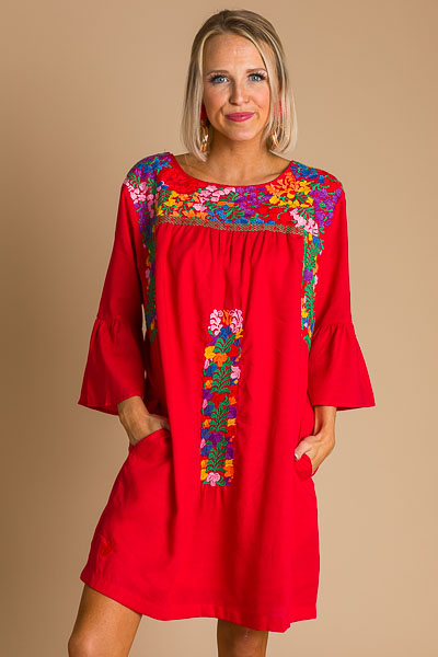 Catherine Embroidered Dress, Red