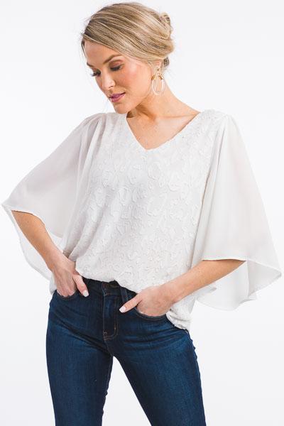 Textured Tonal White Blouse