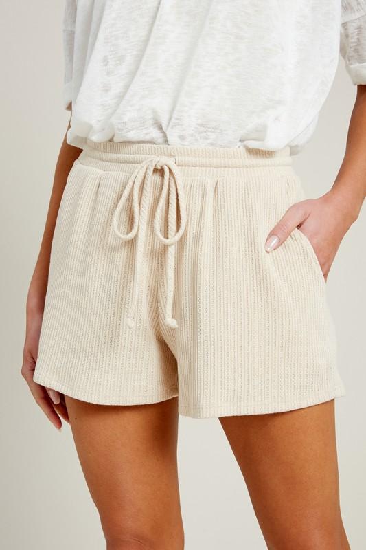 Drawstring Knit Shorts, Cream