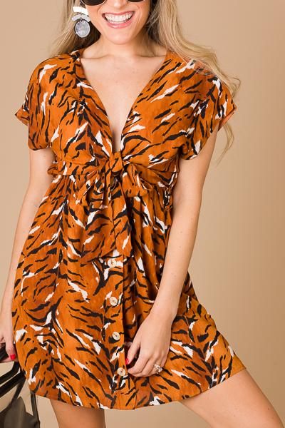 Tiger Tie Front Dress