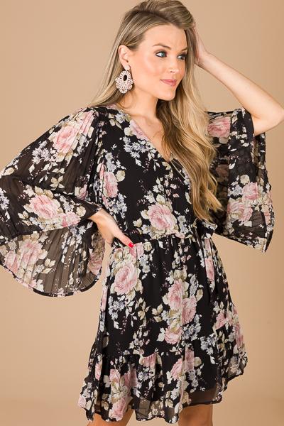 Pleat Sleeve Floral Dress