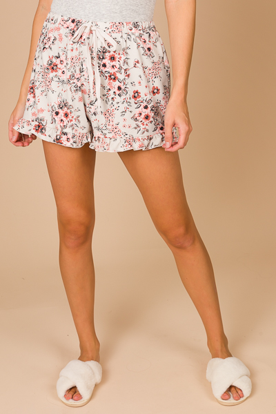 Floral Ruffle Knit Shorts, Gray