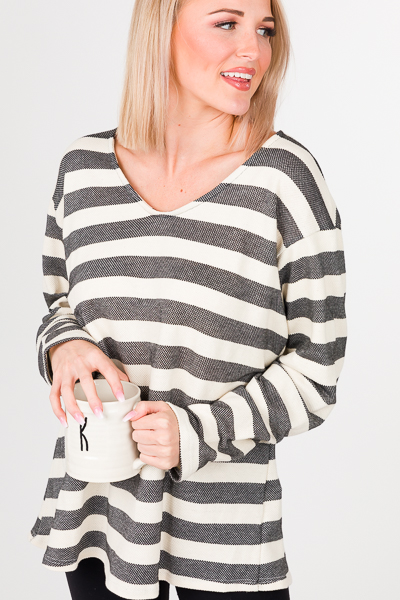 Saturday Stripes Top, Black
