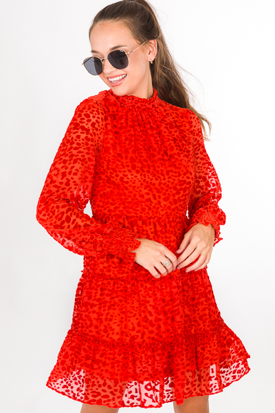 Burnout Tiered Dress, Red