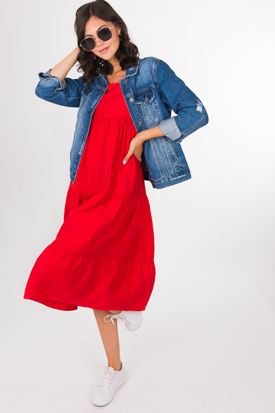 Red Hot Tiered Midi