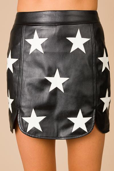 Leather Stars Skirt