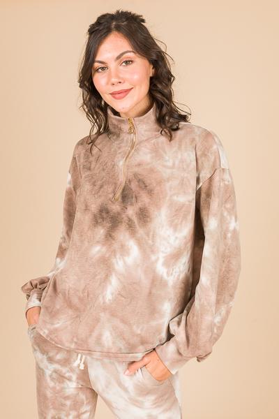 Half Zip Pullover, Tan Tie Dye