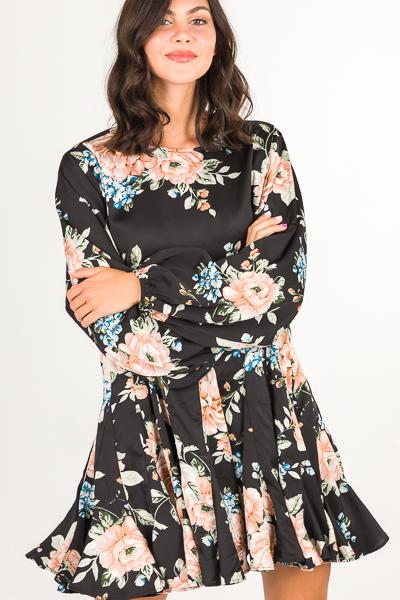Belted Black Dress, Floral