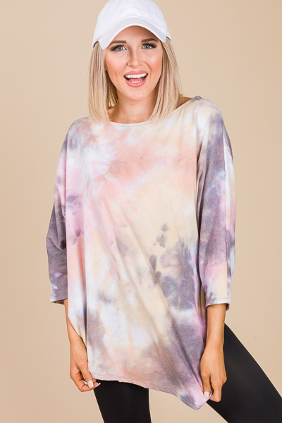 Asymmetric Tunic, Peach Tie Dye