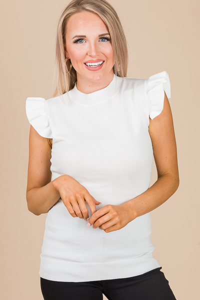 Ruffle Shoulder Fitted Top, White