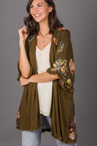 Linen Mix Kimono, Olive